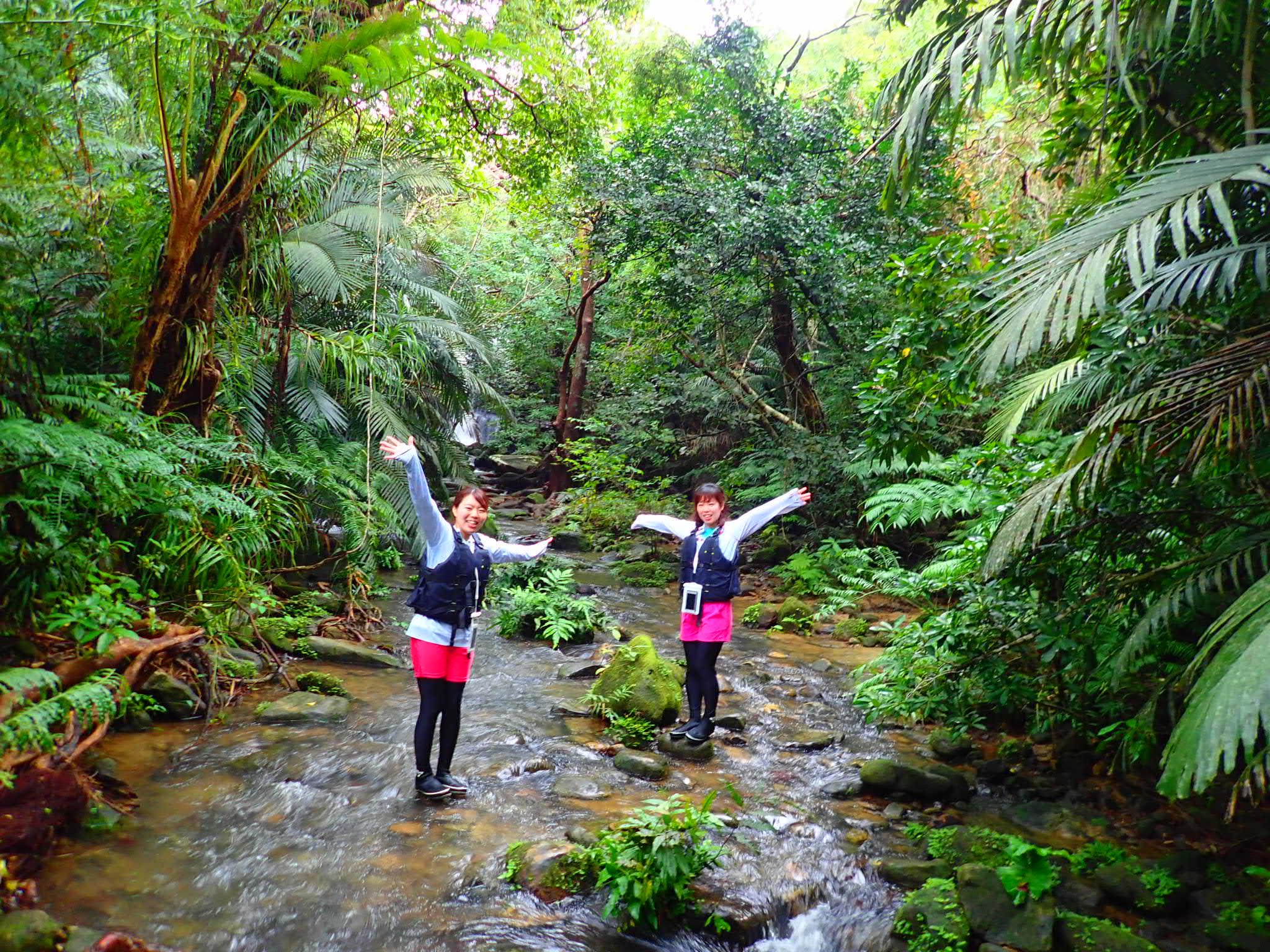西表島のクーラの滝でトレッキングを楽しむ女性