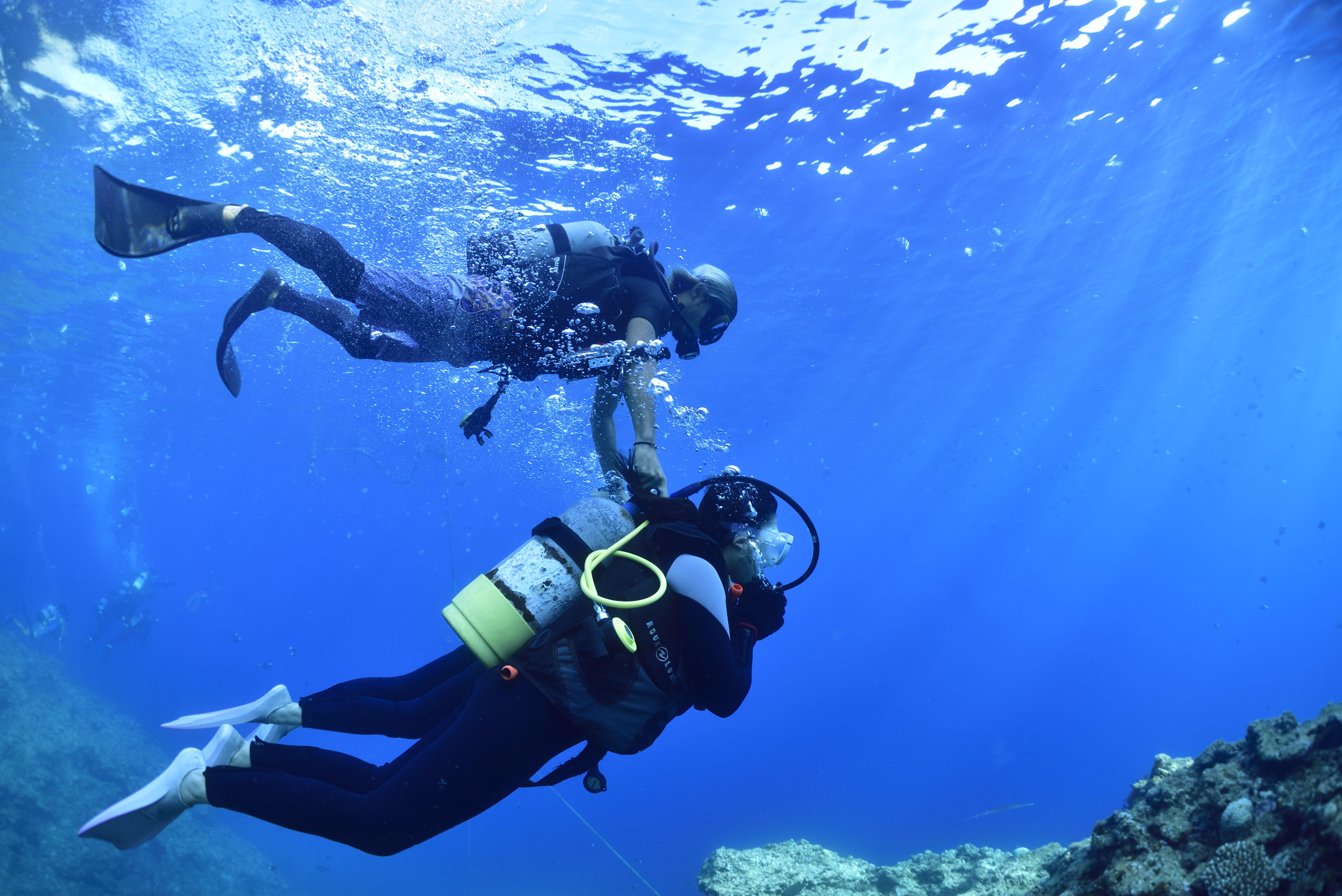 沖縄の青の洞窟で透き通った海の中を体験ダイビング